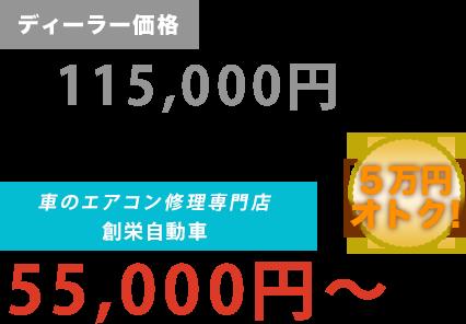 ディーラー価格115,000円がエアコンリペアファクトリー新潟店だと55,000円~。6万円もお得!